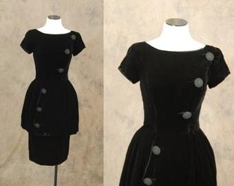 vintage 50s Peplum Dress - Black Velvet Cocktail Dress - 1950s Wiggle Dress Sz S