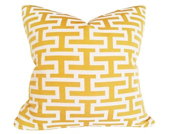 Yellow Pillow Cover, Yellow Geometric Pillow, Yellow Cushion Covers, Greek Key Pillow, Yellow Throw Pillow, 18x18,  Spring Sale