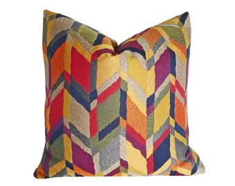 Chevron Pillow Cover, Colorful Throw Pillows, Herringbone Pillow Covers, Zigzag Graphic Decorative Pillows, Orange Purple Green Yellow 18x18