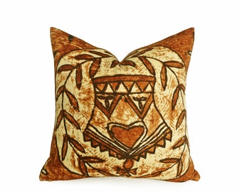 Brown Tribal Pillows, Primitive Throw Pillow Cover, Global Style Pillow, African Throw Pillow, Man Cave Decor, Gift Idea for Him, 16x16
