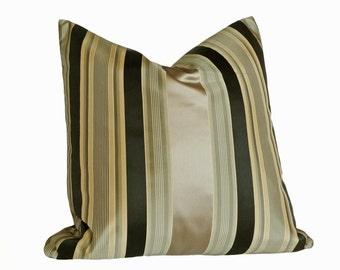Metallic Accent Pillow, Masculine Throw Pillows, Pewter Bronze Black Cushion Cover, Luxury Silk Pillows, 18x18, 45x45 cm
