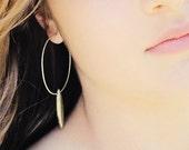 Pyrite Spike Hoop Earrings / Argentium Silver, Large Hoop Earrings / Gold Golden Pyrite / Bohemian Statement Everyday Earrings