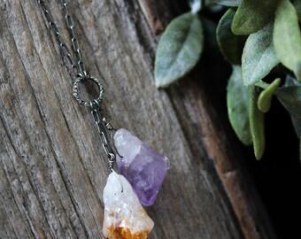 Diamond Citrine Amethyst Necklace, Pendant Necklace, Long Necklace, Oxidized Sterling Silver, Italian Chain, Bohemian Organic Purple Honey