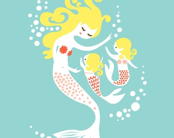 """8X10"""" mermaid mother & two baby girls giclee print on fine art paper. soft teal, coral pink, blonde"""