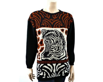 ZEBRE French Vintage 80s Zebra Motif Knit Blouse