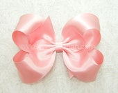 Pink Satin Hair Bow, 4 inch Satin Bow for Flower Girls, Pink Satin Bow for Bridesmaids, Special Occasions, Weddings, Pick Your Bow Color
