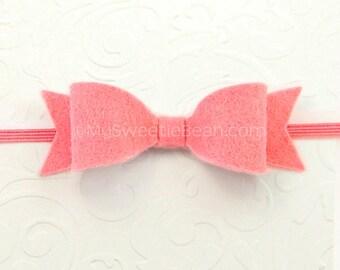 Coral Felt Bow Headband, Skinny Elastic Headband, Coral Pink Newborn Baby Headband 85 colors, Felt Headband for Babies, Coral Rose, Pastel