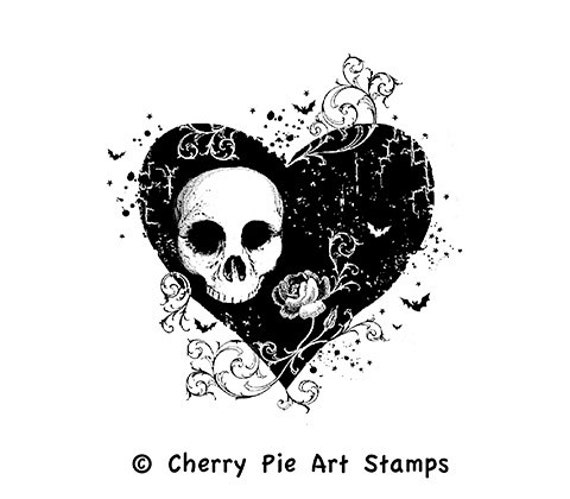 Goth HEART with skull - CLiNG RuBBer STaMP by Cherry Pie Art Stamps