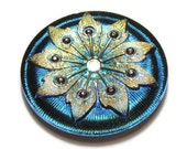 Rhinestone Studded Gold Flower on Turquoise Blue Czech Glass Button Top Cabochon 38mm