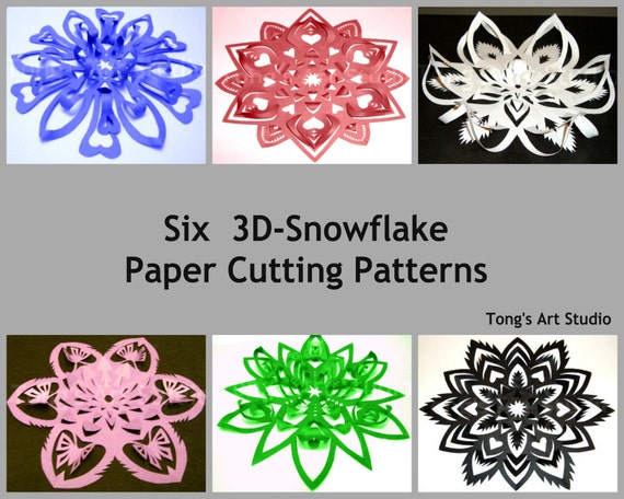 Six 3DSnowflake Paper Cutting Patterns 2 Different Sized