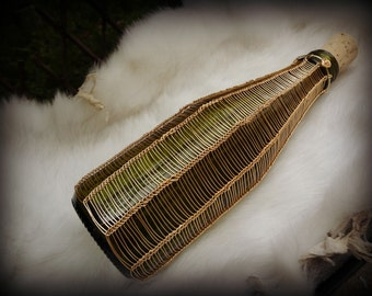 VIKING KNIT Green Glass UPCYCLED Wire Wrapped Bottle - German Brass Wire - Use As Decor Or To Store Items - Spell Bottle - Altar - Magick