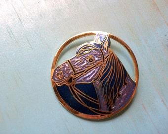 Purple Cloisonne Enamel Horse Brooch
