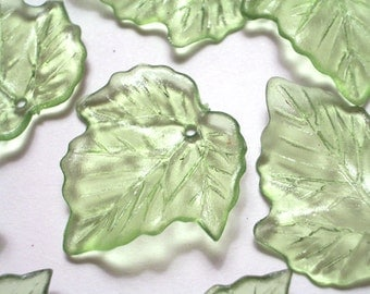 10 Pieces 25mm Icy Green Grape Leaves Lucite Leaf Beads Plastic Grape Leaf Beads