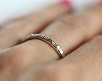 Sterling silver stacking ring - textured - dainty - shatter - etsymetal team