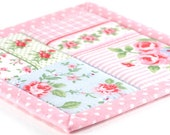 Fabric Coasters - Shabby Chic in Pink - 2 or 4 or 6 Reversible Patchwork Quilts Candle Mat Set