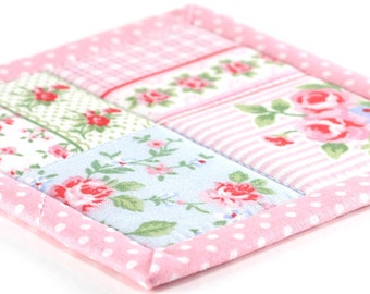 Fabric Coasters - Shabby Cottage Chic Roses in Pink, 4 Reversible Patchwork Mini Quilts Candle Mat Set, Pink, Green, Blue Flowers Home Decor
