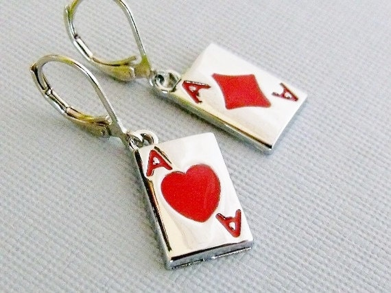 Playing Card Earrings, Card Player, Ace Of Heart, Red Card Earrings, Black Card Earrings, Playing Card Jewelry