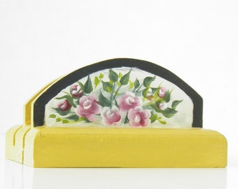 Yellow Business Card Holder with Flowers