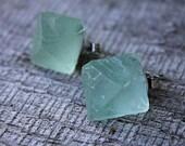 Green Fluorite Octhahedron Earrings // Metaphysical Tools // Healing Stones // Fluorite Earrings // Healing Stones // Gifts Under 20 // Boho