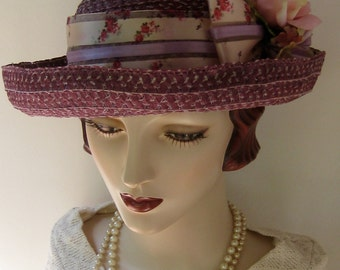 Summer Straw Hat in Plum with Roses