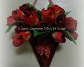 Red Wood Heart with Red Tulips Door Greeter