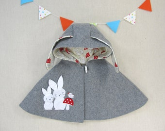 Children Capelet - Baby Girl, Cape, Poncho, Hood, Bunny, Gift