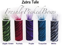 Zebra Animal Tulle 6 x 10 yards  5 colors to choose from