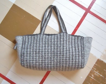 Brown and Tweed Felted Crochet Tote Bag