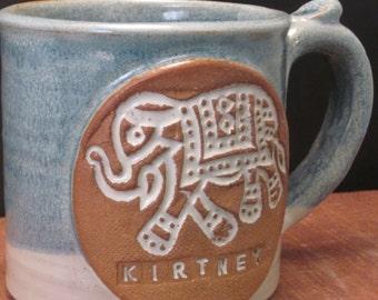 Personalized Handmade Ceramic Elephant Mug - Custom Made - Stamped - Antique Blue and Ivory