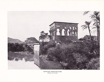 1903 Architecture Photograph - Egyptian Temple - Vintage Antique Art Print History Geography Great for Framing 100 Years Old