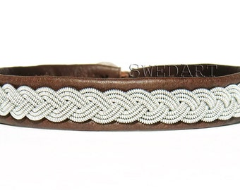 SwedArt B08 Arctic Usher The Voice Lapland Reindeer Leather Bracelet with Antler Button Dark Brown X-SMALL