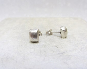 Sterling Silver Stud Earrings, Minimalist square stud earrings