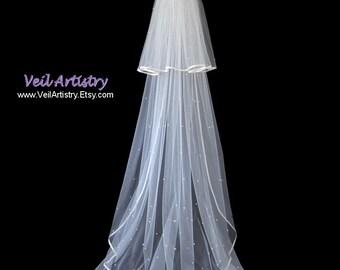 Wedding Veil, Classic Veil, 2-Tier Veil, Chapel Veil, Satin Ribbon Veil, Scattered Crystal & Pearl Veil, Made-to-Order Veil, Handmade Veil