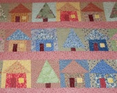 Floral Lap Quilt, Bed Size Quilt, Pretty Floral Houses, 53x66 inches, Machine Quilted, Fabric Wall Hanging