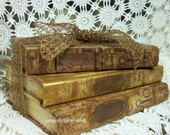 Skeleton Key Beautiful Altered  Restyled Book Stack in  Steampunk Goth Halloween
