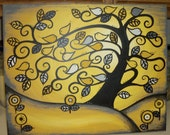 Unique FAMILY TREE Custom painted for you...Tweeting Birds in a Golden curvy tree