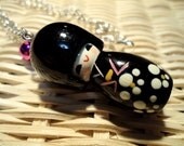 Japanese Doll Black Kokeshi Necklace. Japan Culture. Cute.