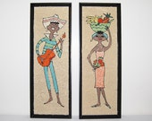 Calypso Vintage Pebble / Gravel Art Couple