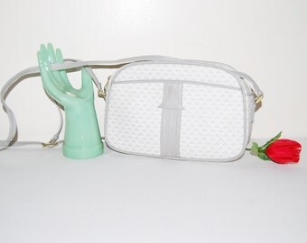 Vintage Purse Cross Body Geometric Grey and White 80's