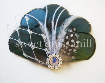 Feather Fascinator - PETIT ABSINTHE DOT - Smoky Green Amherst Pheasant Feathers Gatsby Emerald Crystal Clip