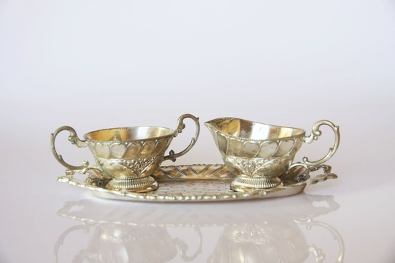Antique silver plated Victorian style cream and sugar set, Art Nouveau home decor, romantic kitchen decoration, vintage curly silver decor