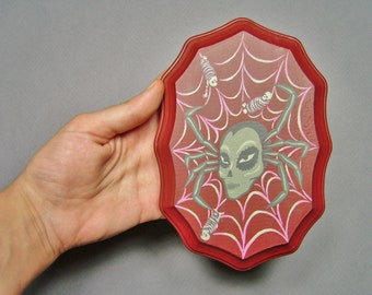Painting on Wood Plaque, Spider Woman with Wrapped Corpses - Original