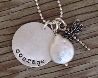 Sterling silver charm pendant- hand stamped courage- ready to ship