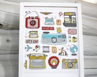 Typewriter camera travel adventure print
