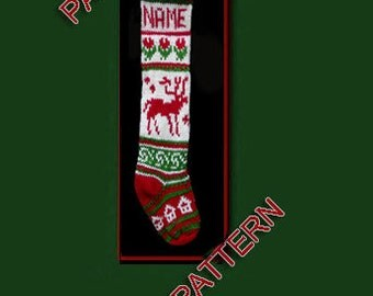 Pattern only  ---  Hand knit Christmas stocking,  reindeer, snowflake, house and flower