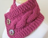 "Chunky Cable Neck Warmer Knit Thick Raspberry Scarf Wool Blend 6"" x 25"" - Cocconut Shell Buttons Ready to Ship - Direct Checkout"