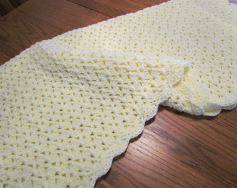 Crochet Baby Blanket Shell Stitch Crochet Crib Size Afghan - Baby Boy Baby Girl Blanket - Pale Yellow  - Direct Checkout - Ready to Ship
