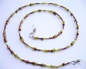 Copper GOLD AND OLIVE Green Beaded Eyeglass Chain Leash Holder Lanyard