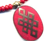 Endless Knot Necklace, Tibetan Pendant Necklace, Coral Necklace, Red Necklace, Nepal Coral Pendant, Handmade Nepal Jewelry By AnnaArt72