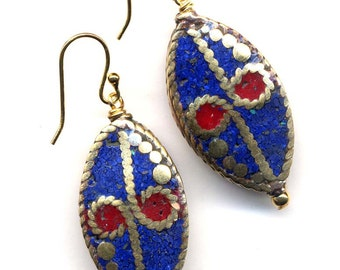 Nepal  Lapis and Coral Earrings, Red Earrings, Ethnic Earrings, Nepal beads on 18K Gold Filled wire, handmade Jewelry by AnnaArt72